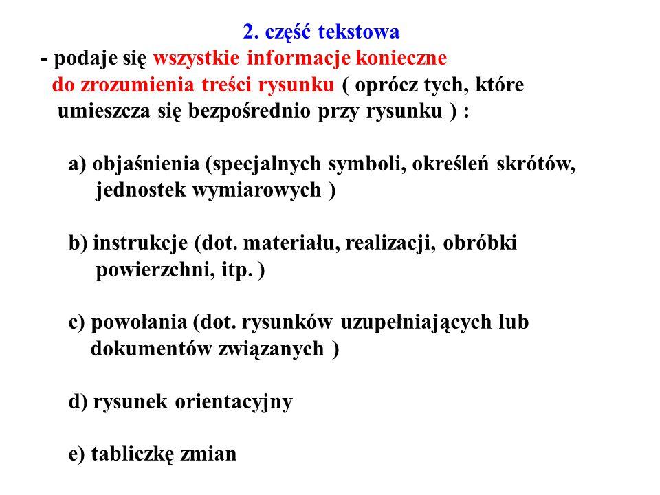 2. część tekstowa - podaje się wszystkie informacje konieczne. do zrozumienia treści rysunku ( oprócz tych, które.