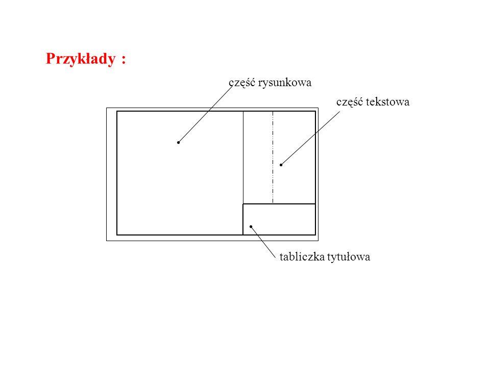Przykłady : część rysunkowa część tekstowa tabliczka tytułowa