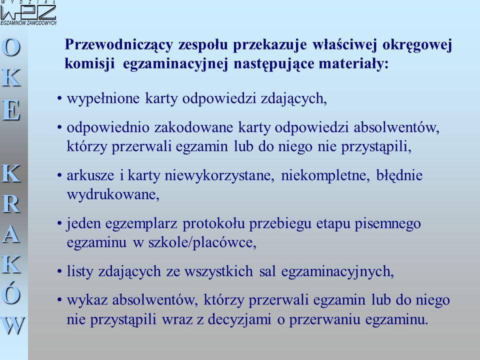 Przewodniczący zespołu przekazuje właściwej okręgowej komisji egzaminacyjnej następujące materiały: