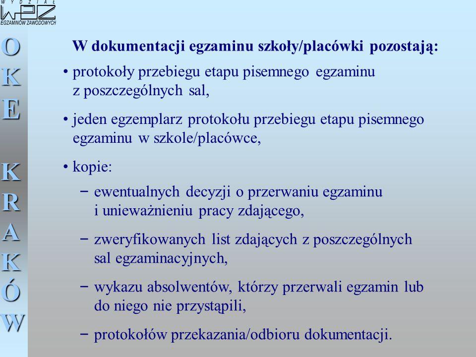 W dokumentacji egzaminu szkoły/placówki pozostają: