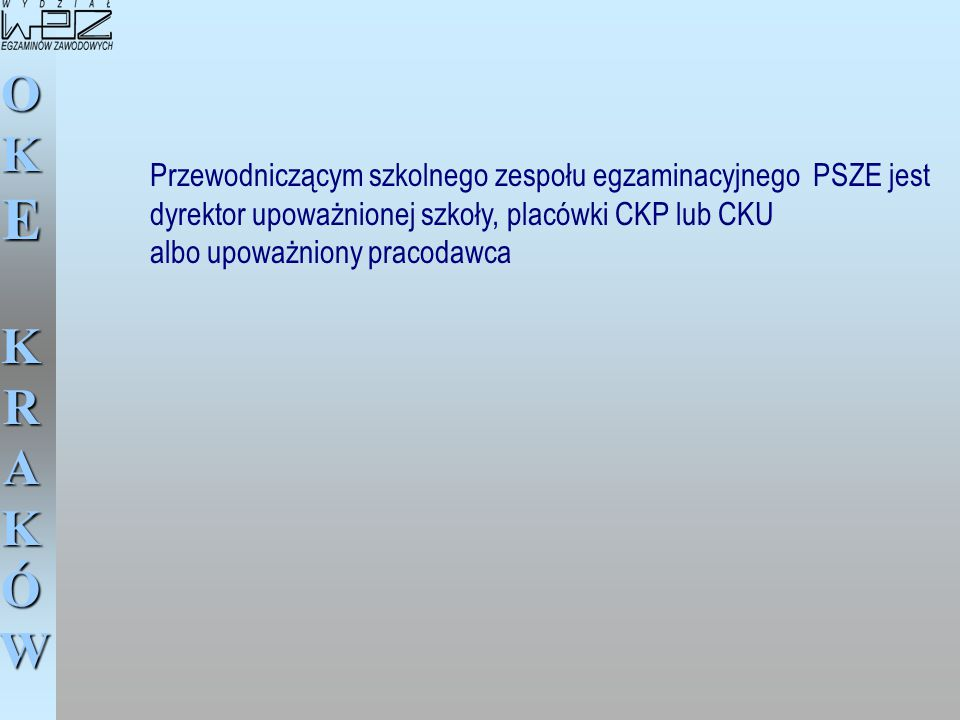 Przewodniczącym szkolnego zespołu egzaminacyjnego PSZE jest dyrektor upoważnionej szkoły, placówki CKP lub CKU albo upoważniony pracodawca