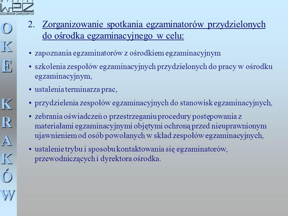 Zorganizowanie spotkania egzaminatorów przydzielonych do ośrodka egzaminacyjnego w celu: