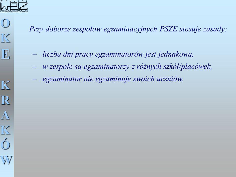 Przy doborze zespołów egzaminacyjnych PSZE stosuje zasady: