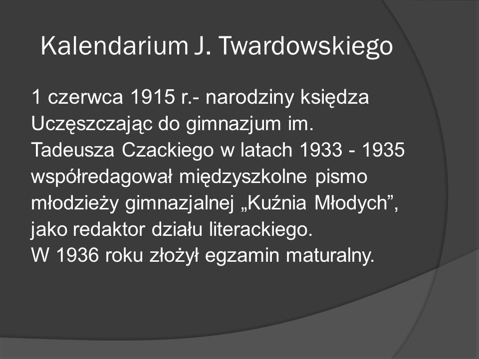 Kalendarium J. Twardowskiego
