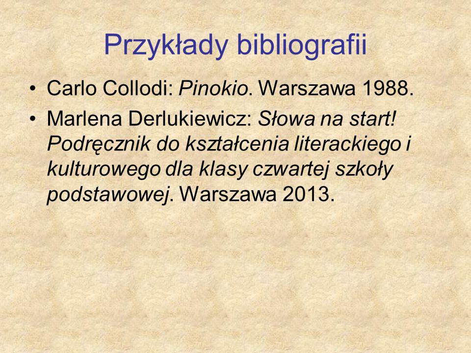 Przykłady bibliografii