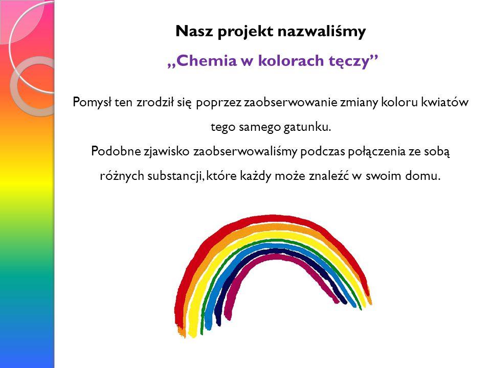 """Nasz projekt nazwaliśmy """"Chemia w kolorach tęczy"""