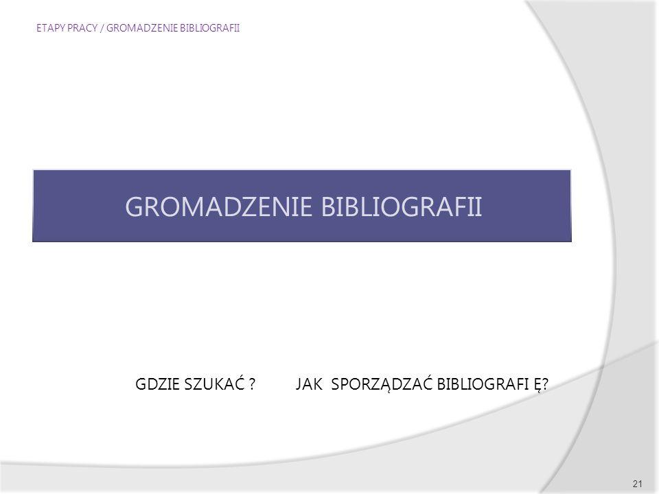 ETAPY PRACY / GROMADZENIE BIBLIOGRAFII