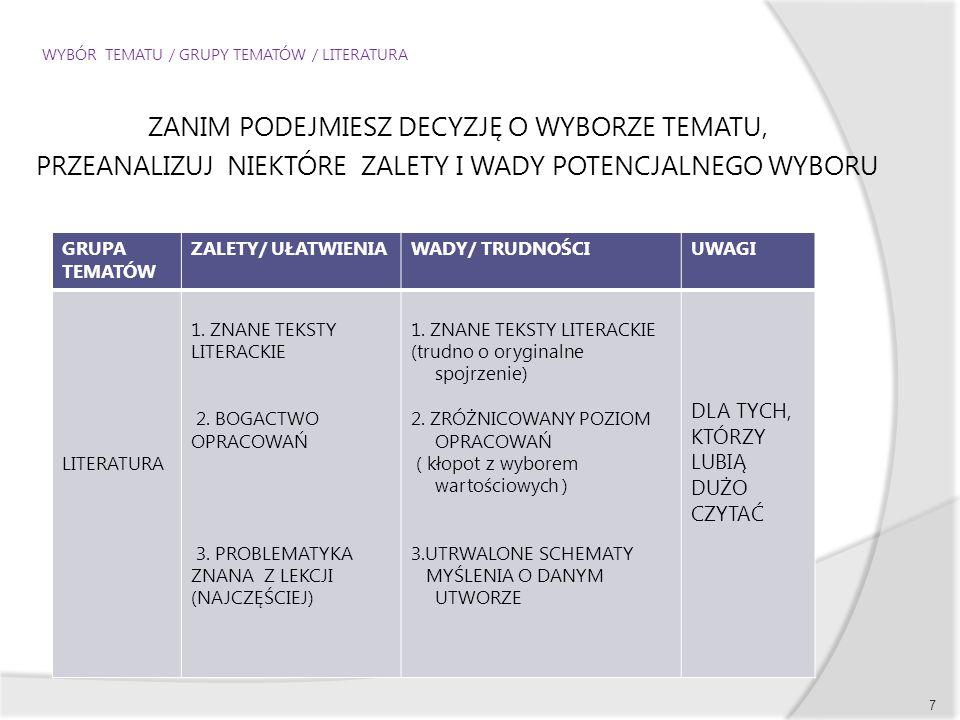 WYBÓR TEMATU / GRUPY TEMATÓW / LITERATURA