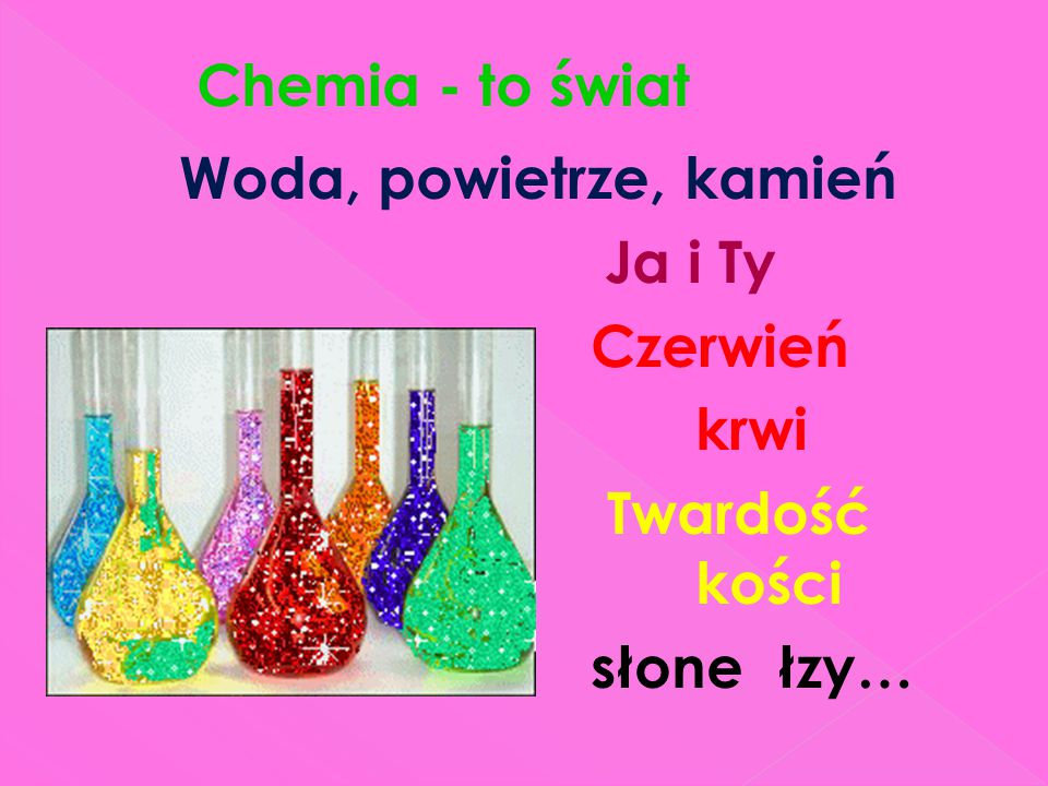 Chemia - to świat Woda, powietrze, kamień Ja i Ty Czerwień krwi