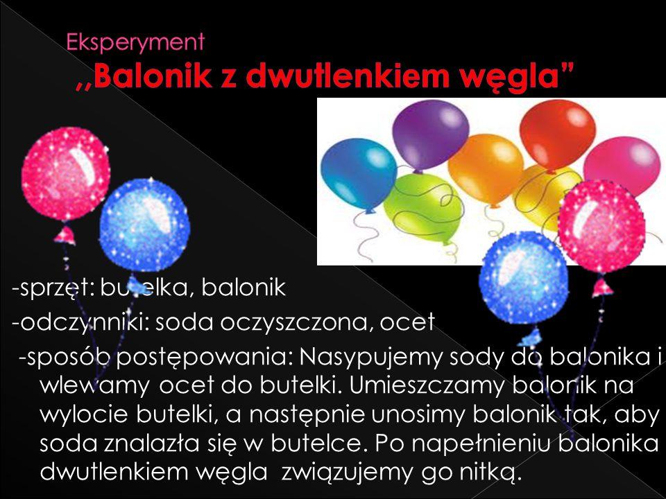 Eksperyment ,,Balonik z dwutlenkiem węgla