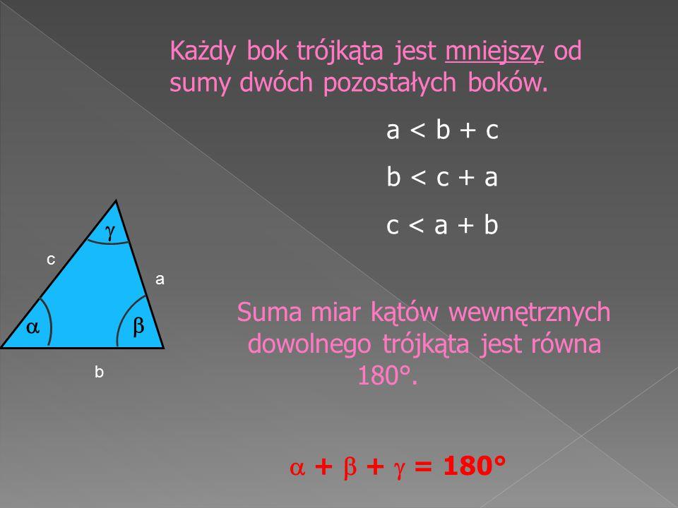 Suma miar kątów wewnętrznych dowolnego trójkąta jest równa 180°.
