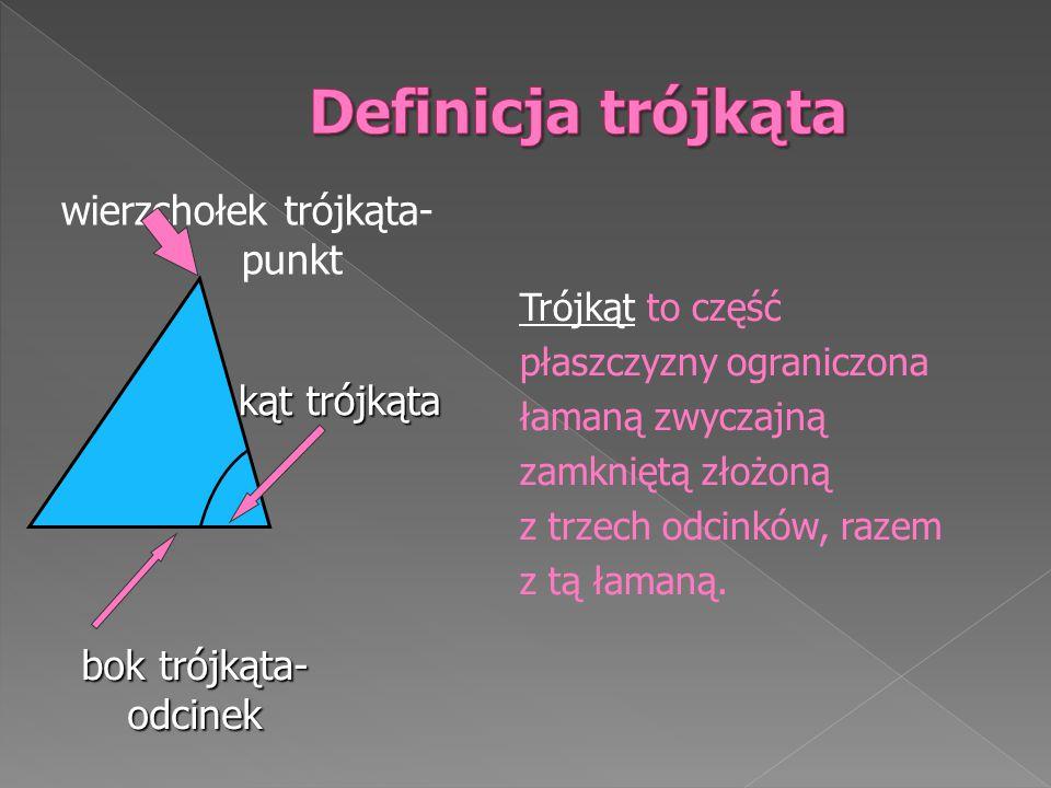 Definicja trójkąta wierzchołek trójkąta- punkt kąt trójkąta