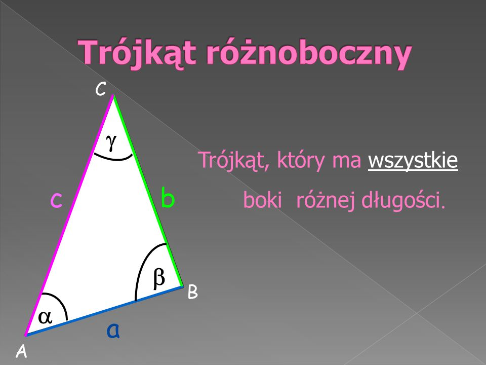 Trójkąt różnoboczny a c b    Trójkąt, który ma wszystkie C B A
