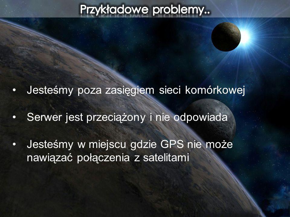 Przykładowe problemy.. Jesteśmy poza zasięgiem sieci komórkowej. Serwer jest przeciążony i nie odpowiada.