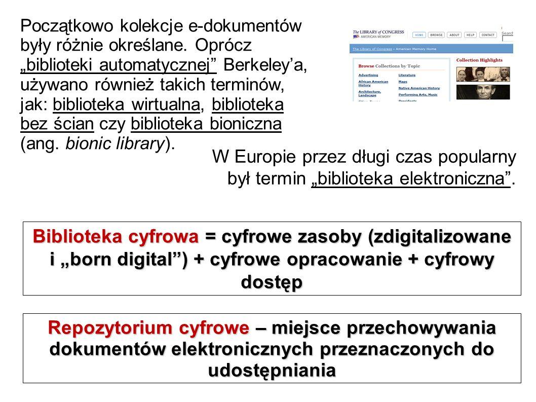 Początkowo kolekcje e-dokumentów