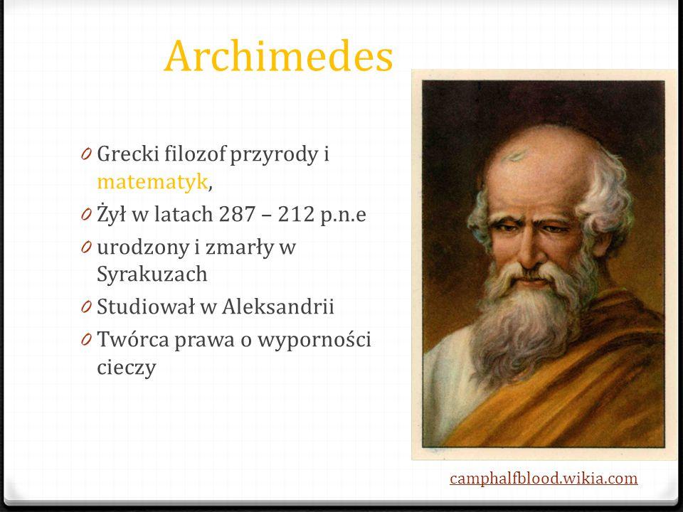 Archimedes Grecki filozof przyrody i matematyk,