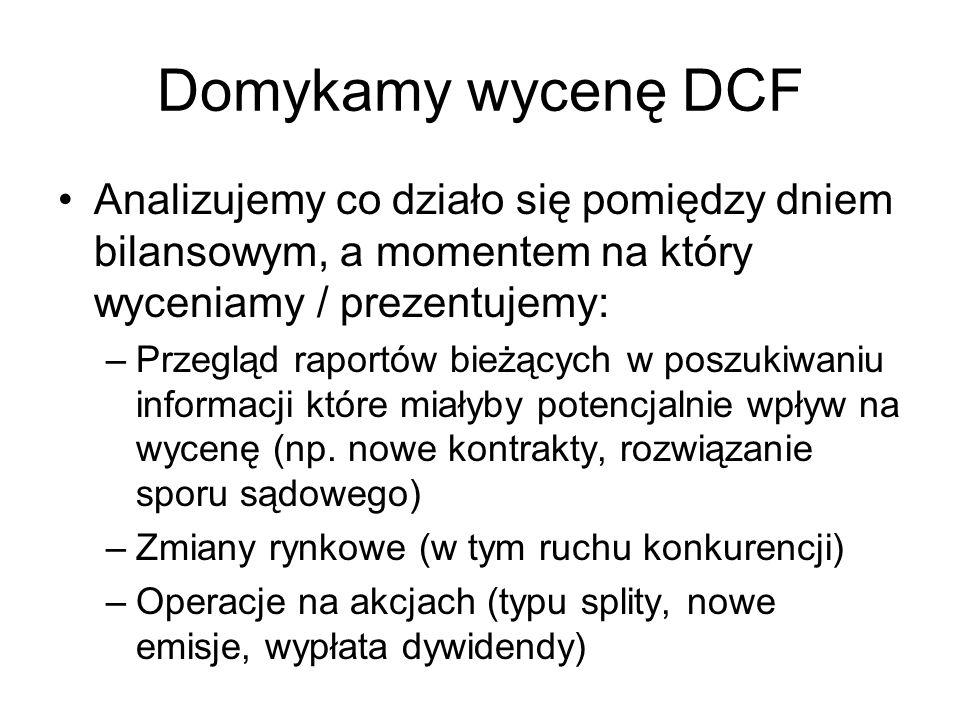 Domykamy wycenę DCF Analizujemy co działo się pomiędzy dniem bilansowym, a momentem na który wyceniamy / prezentujemy: