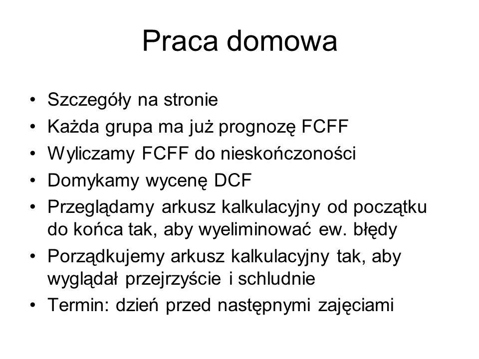 Praca domowa Szczegóły na stronie Każda grupa ma już prognozę FCFF