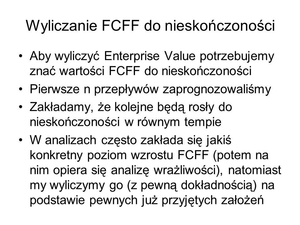 Wyliczanie FCFF do nieskończoności