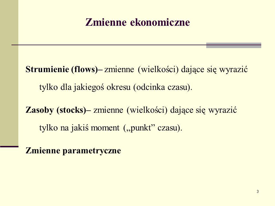 Zmienne ekonomiczne Strumienie (flows)– zmienne (wielkości) dające się wyrazić tylko dla jakiegoś okresu (odcinka czasu).