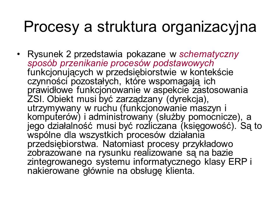 Procesy a struktura organizacyjna