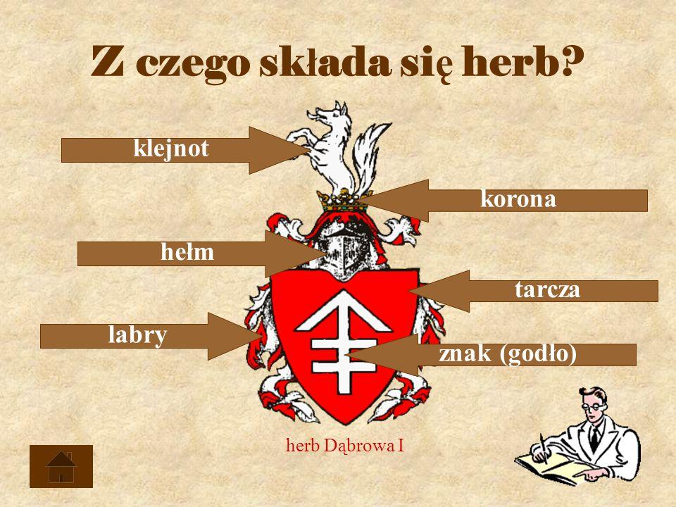 Z czego składa się herb klejnot korona hełm tarcza labry znak (godło)