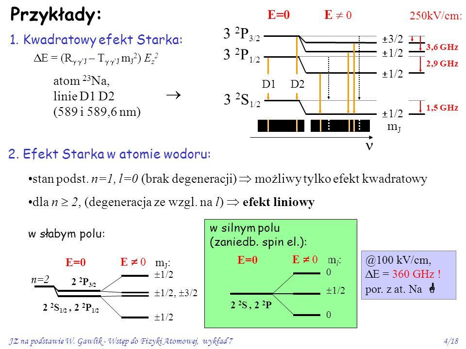 Przykłady: 3 2P3/2 3 2P1/2  3 2S1/2  E=0 E  0 mJ