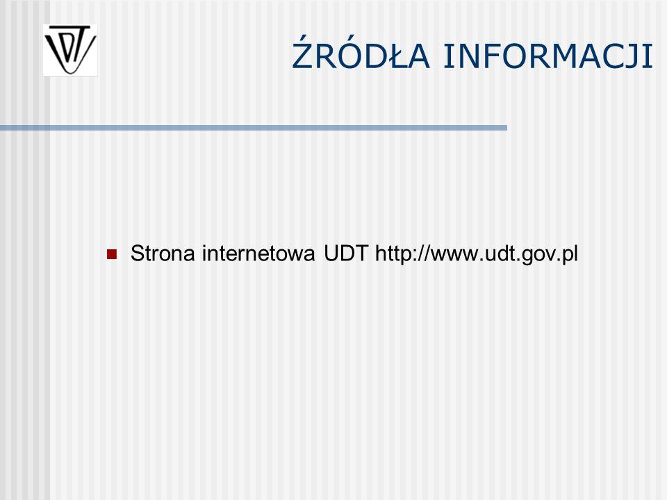 Strona internetowa UDT http://www.udt.gov.pl