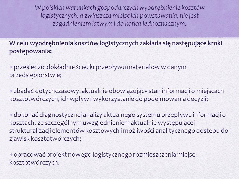 W polskich warunkach gospodarczych wyodrębnienie kosztów logistycznych, a zwłaszcza miejsc ich powstawania, nie jest zagadnieniem łatwym i do końca jednoznacznym.