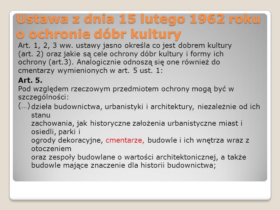 Ustawa z dnia 15 lutego 1962 roku o ochronie dóbr kultury