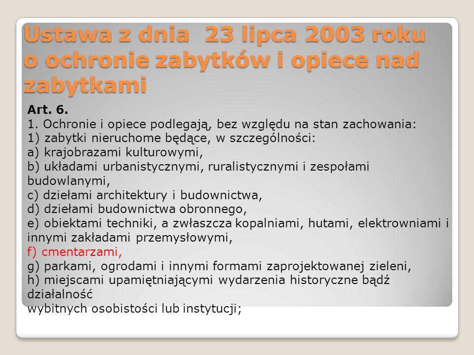Ustawa z dnia 23 lipca 2003 roku o ochronie zabytków i opiece nad zabytkami