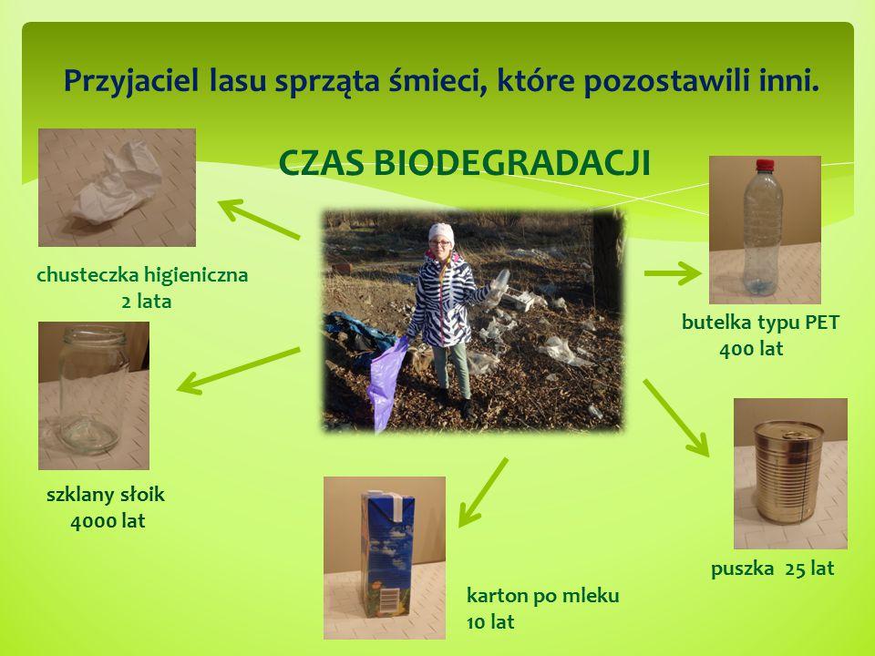 Przyjaciel lasu sprząta śmieci, które pozostawili inni.