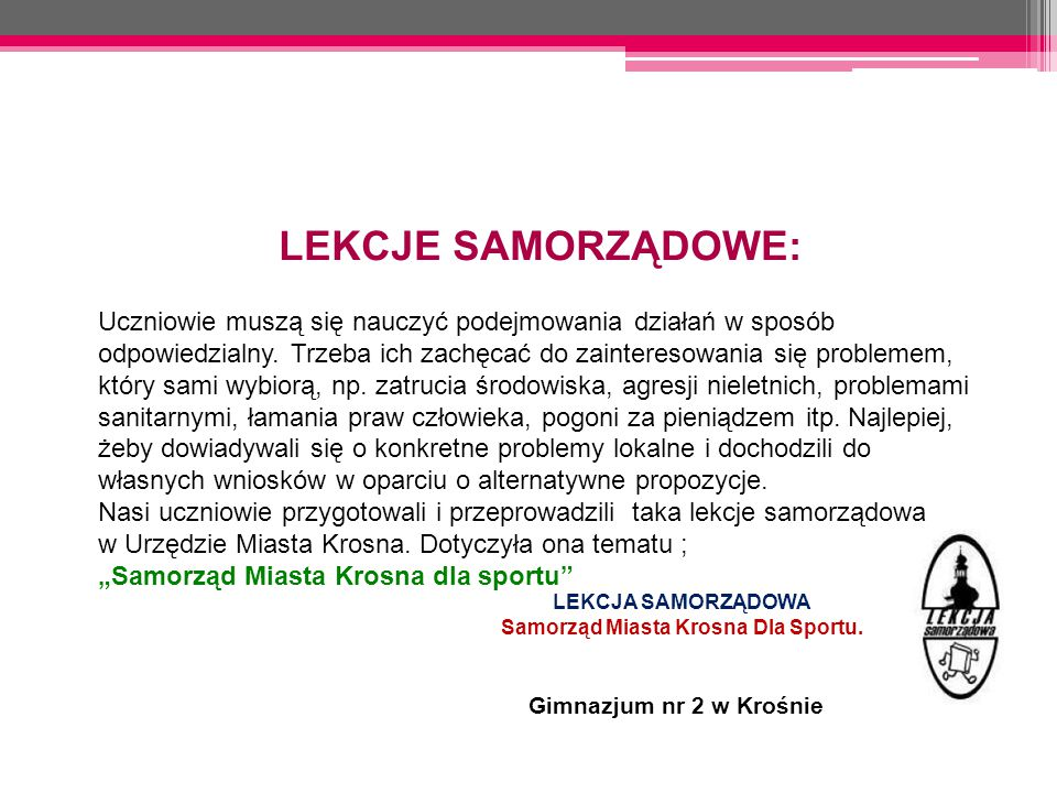 Samorząd Miasta Krosna Dla Sportu.