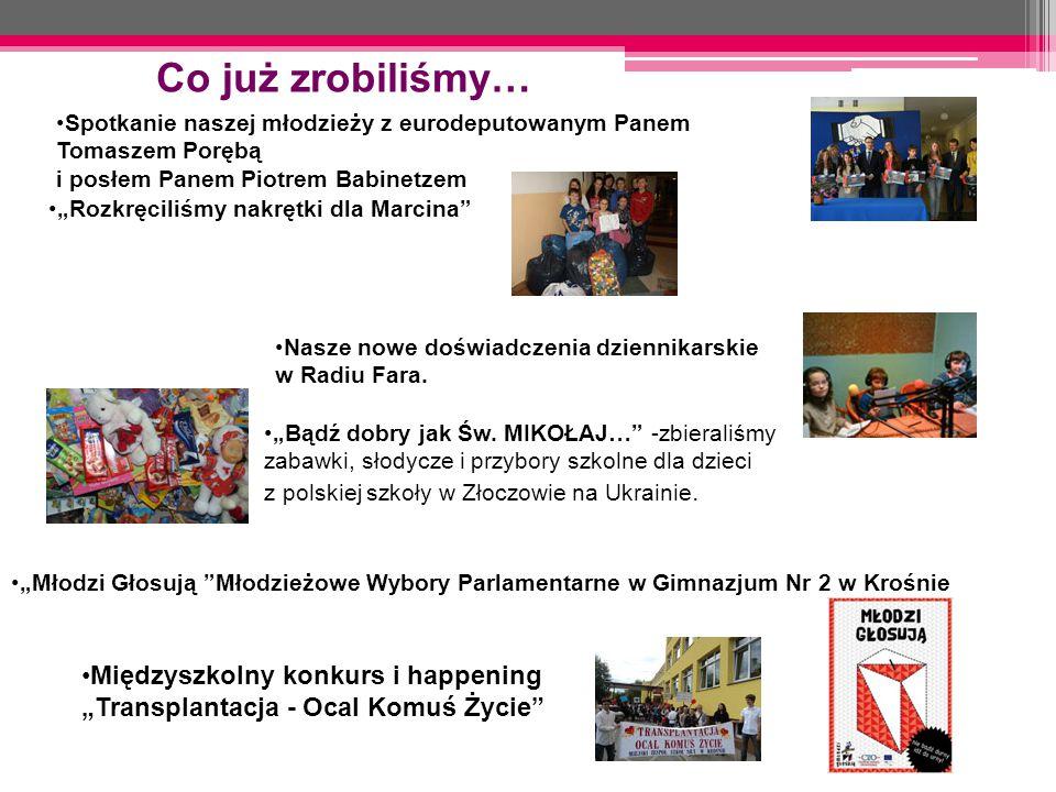Co już zrobiliśmy… Spotkanie naszej młodzieży z eurodeputowanym Panem Tomaszem Porębą. i posłem Panem Piotrem Babinetzem.