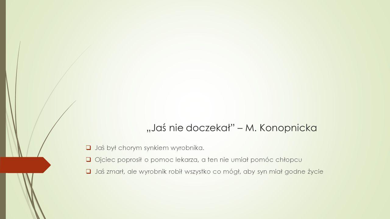 """""""Jaś nie doczekał – M. Konopnicka"""