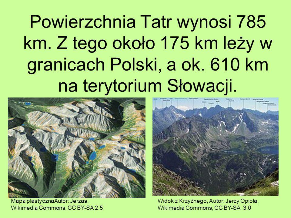 Powierzchnia Tatr wynosi 785 km