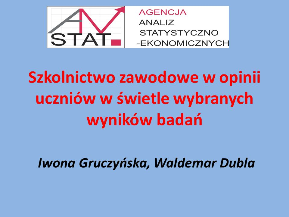Szkolnictwo zawodowe w opinii uczniów w świetle wybranych wyników badań Iwona Gruczyńska, Waldemar Dubla
