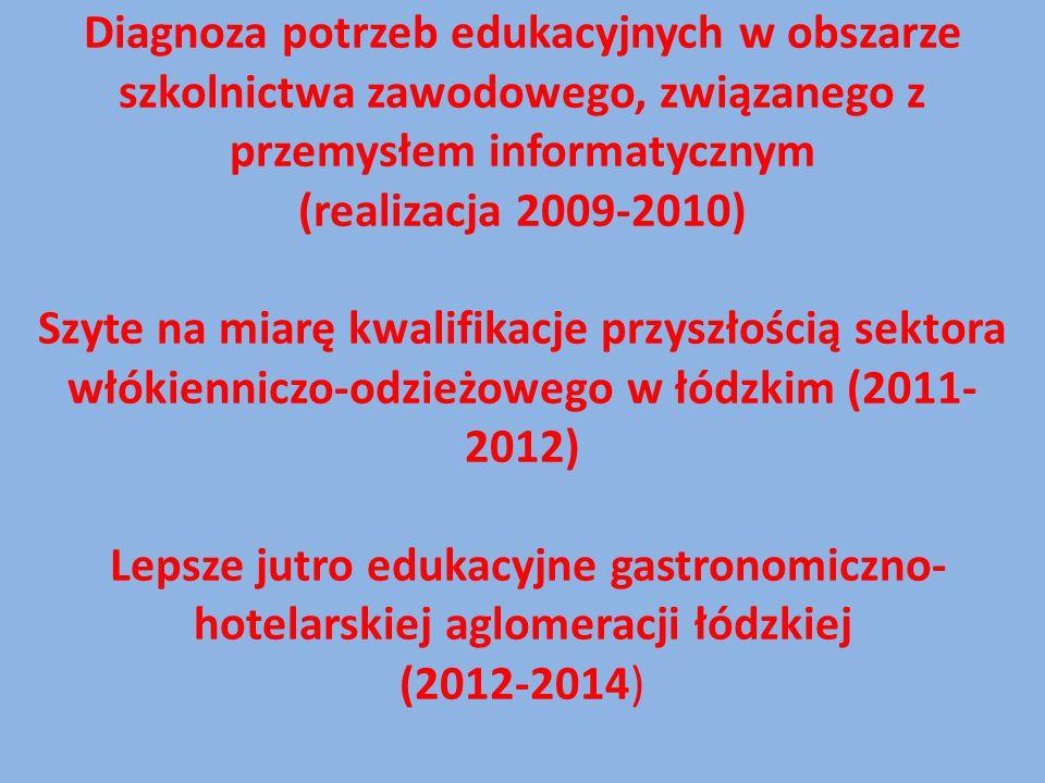Diagnoza potrzeb edukacyjnych w obszarze szkolnictwa zawodowego, związanego z przemysłem informatycznym (realizacja 2009-2010) Szyte na miarę kwalifikacje przyszłością sektora włókienniczo-odzieżowego w łódzkim (2011-2012) Lepsze jutro edukacyjne gastronomiczno-hotelarskiej aglomeracji łódzkiej (2012-2014)