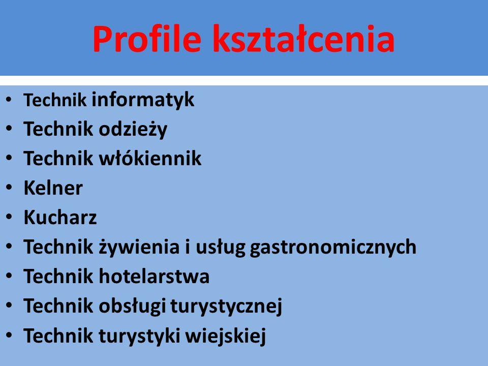 Profile kształcenia Technik odzieży Technik włókiennik Kelner Kucharz