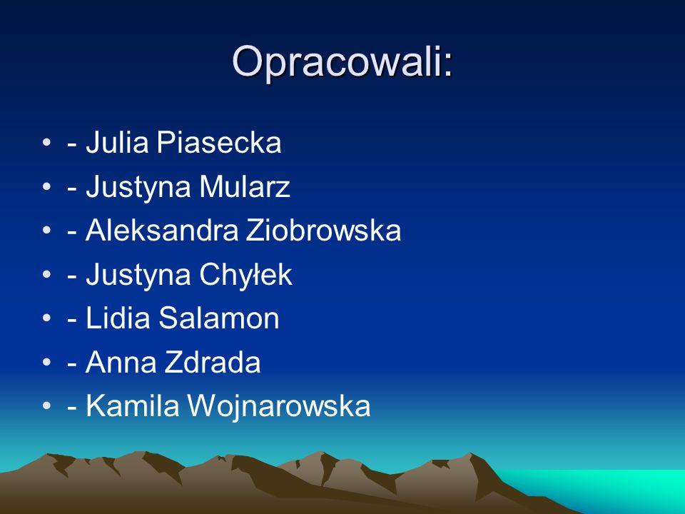 Opracowali: - Julia Piasecka - Justyna Mularz - Aleksandra Ziobrowska