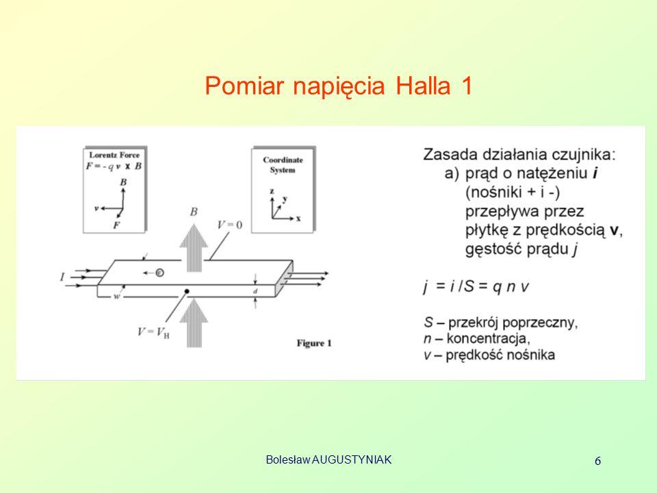 Pomiar napięcia Halla 1 Bolesław AUGUSTYNIAK 6