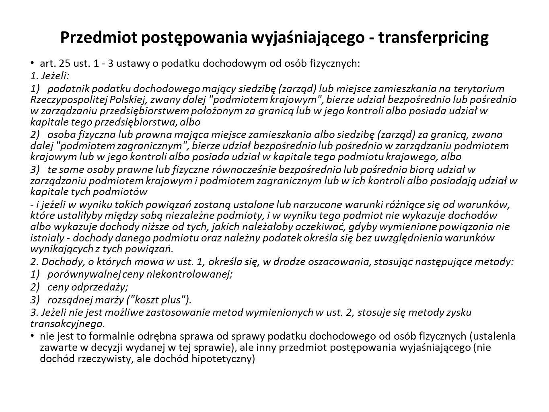 Przedmiot postępowania wyjaśniającego - transferpricing