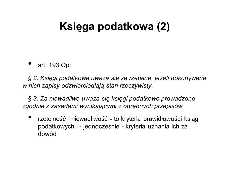 Księga podatkowa (2) art. 193 Op: