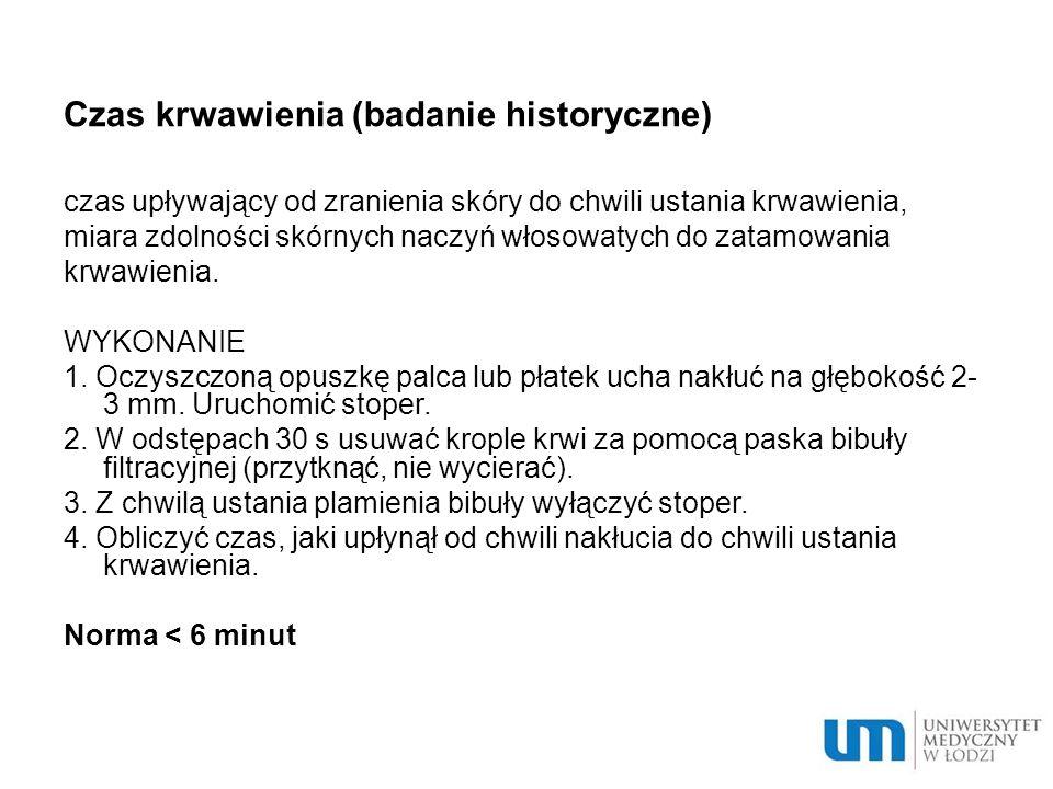 Czas krwawienia (badanie historyczne)