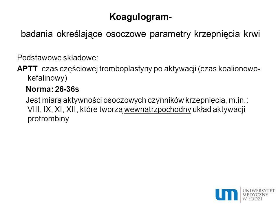 Koagulogram- badania określające osoczowe parametry krzepnięcia krwi
