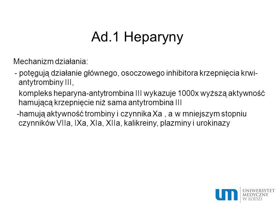Ad.1 Heparyny Mechanizm działania: