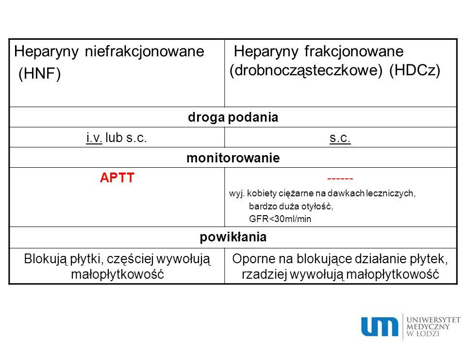 Heparyny niefrakcjonowane (HNF)