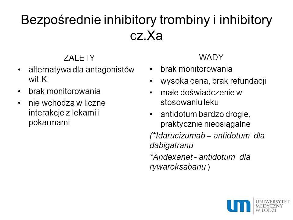 Bezpośrednie inhibitory trombiny i inhibitory cz.Xa