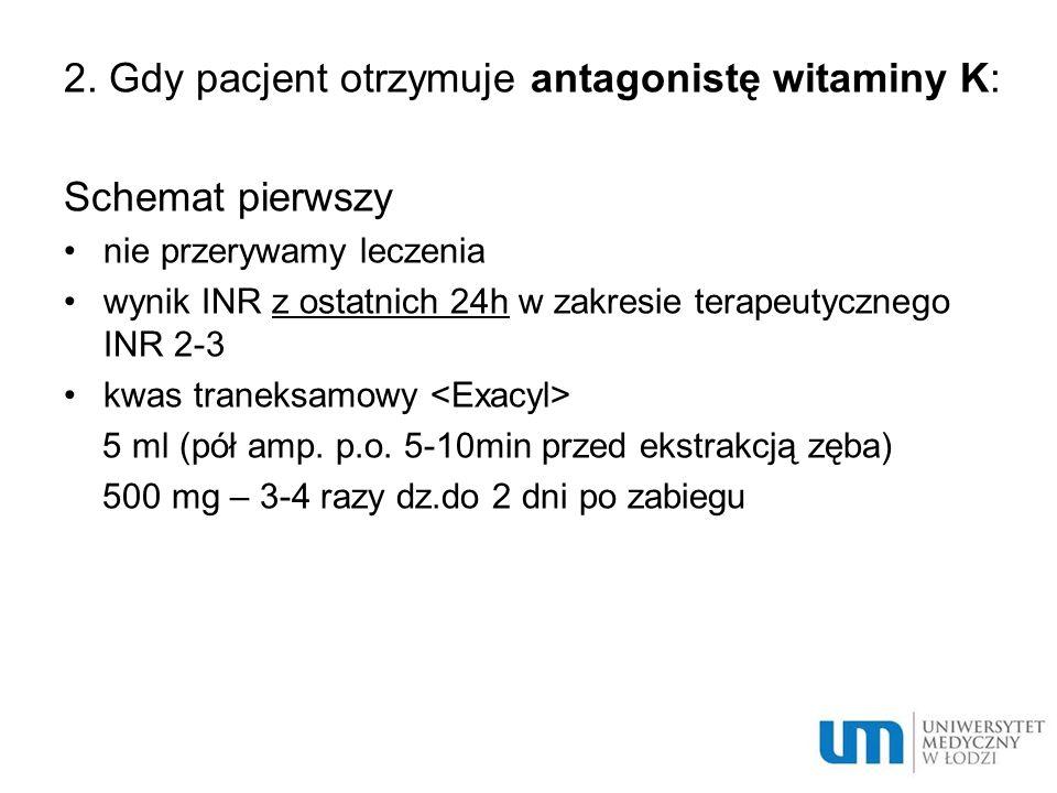 2. Gdy pacjent otrzymuje antagonistę witaminy K: Schemat pierwszy