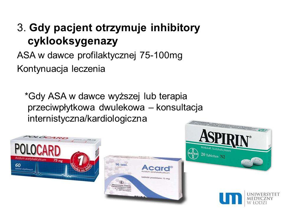 3. Gdy pacjent otrzymuje inhibitory cyklooksygenazy